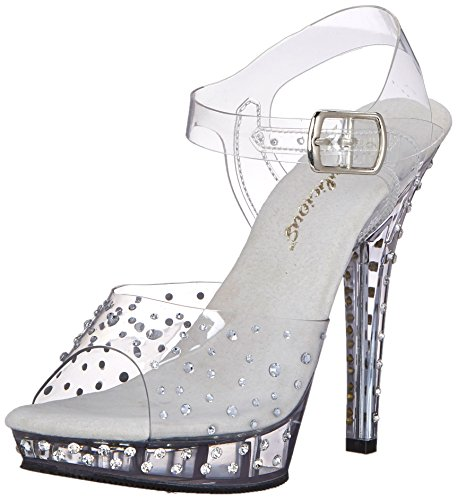 Rhinestone Sandal Footwear Sandals (Fabulicious Women's Lip 108RS Dress Sandal, Clear, 9 M US)
