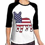 WWOJWBU Bulldog American Flag Women's Casual Half Sleeve Graphic T-Shirt