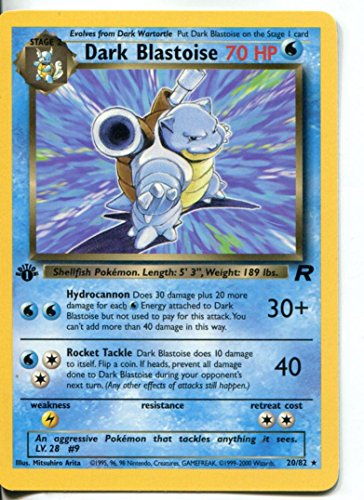 - Pokemon Team 1st Edition Rocket Rare Card #20/82 Dark Blastoise