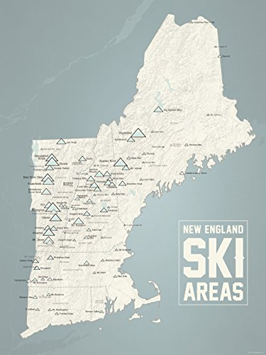 New England Ski Resorts Map 18x24 Poster (Beige & Slate)
