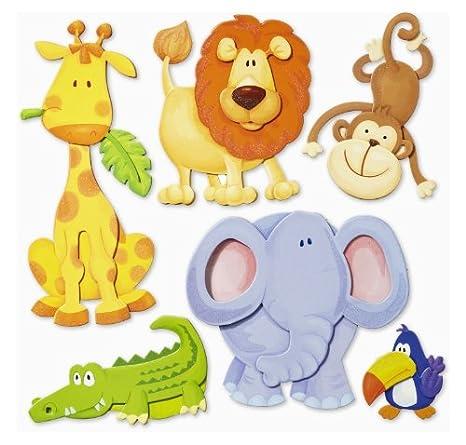 Stickerkoenig Wandtattoo 3D Sticker Wandsticker Kinderzimmer - niedliche  Tiere Afrikas Löwe, Elefant uvm.- Deko auch für Fenster, Schränke, Türen  etc ...