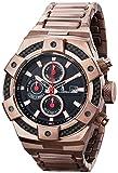 CALABRIA - ARMATO FORTE - Oro rosa - Reloj de hombre de esfera negra con bisel de fibra de carbono y banda de acero inoxidable