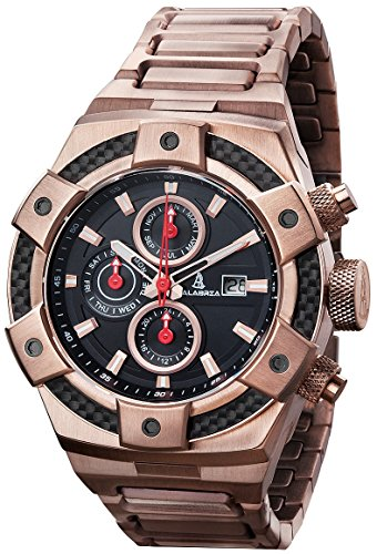 CALABRIA - ARMATO FORTE - Rose Gold - Black Dial Men Watch with Carbon Fiber Bezel & Stainless Steel (Black Carbon Steel Bezel)