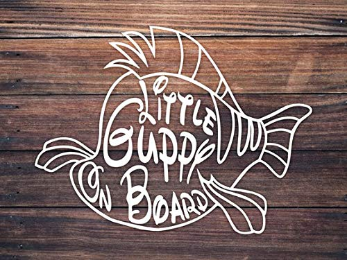 CELYCASY Little Guppy Fish On Board Babies Children Kids On Board Decal Sign Sticker Disney Family Decal Children Car Decal