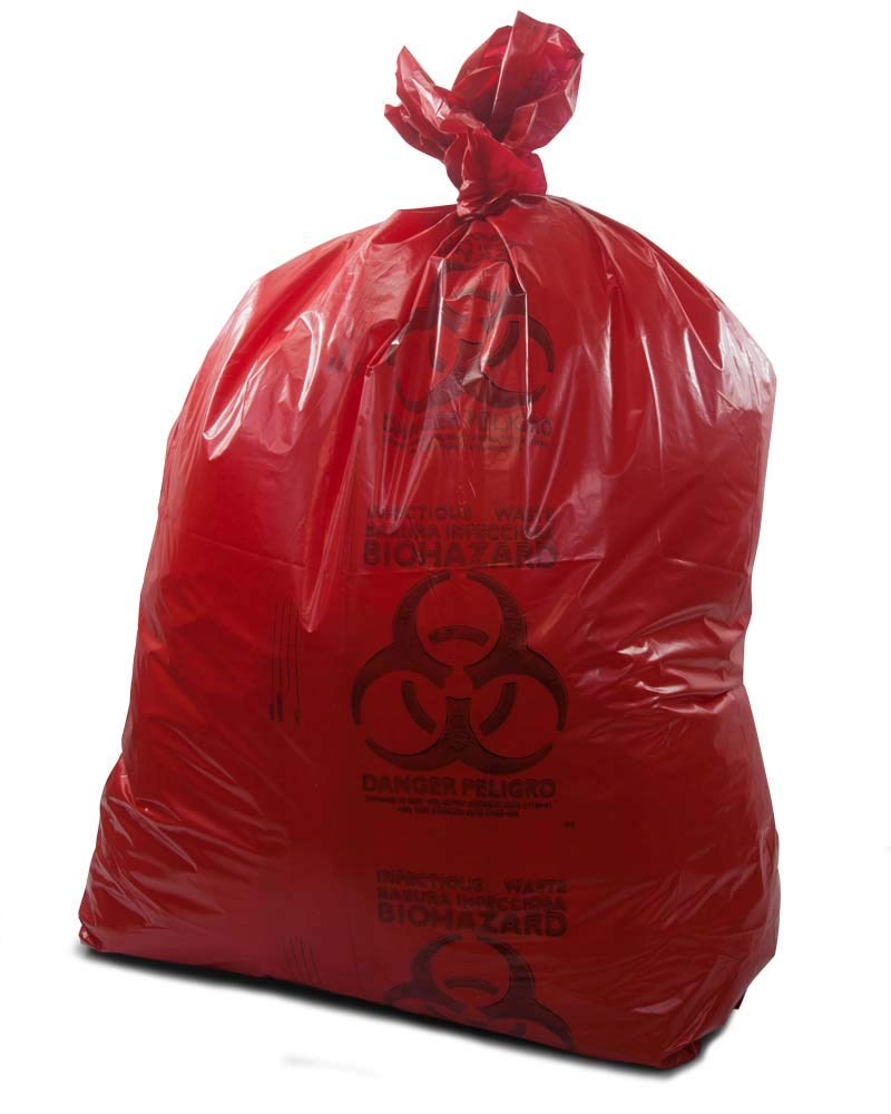 AMZ Medical Waste Trash Bags 37'' x 50''. Pack of 150 red infectious Waste Garbage Bags. 44 Gallon Durable Waste Bags for Medical Facilities. Thickness 1.3 mil.