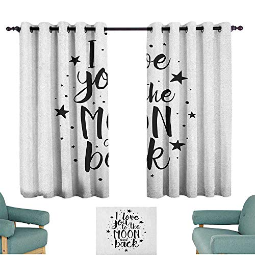WinfreyDecor I Love You Exquisite Curtain Romantic I Love You to The Moon and Back Motivational Valentines Lifestyle Suitable for Bedroom Living Room Study, etc.63 Wx45 L Black - Topper Door Moon
