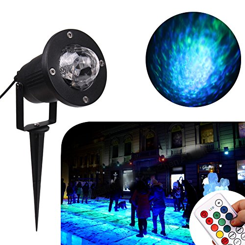 KOOT Water Effect Light,10 Colors Water Light Projector Outdoor Halloween Christmas Decoration Waterproof Spotlight for Garden Landscape Home Party Wedding Disco DJ KTV (Homemade Halloween Decorations Easy To Make)