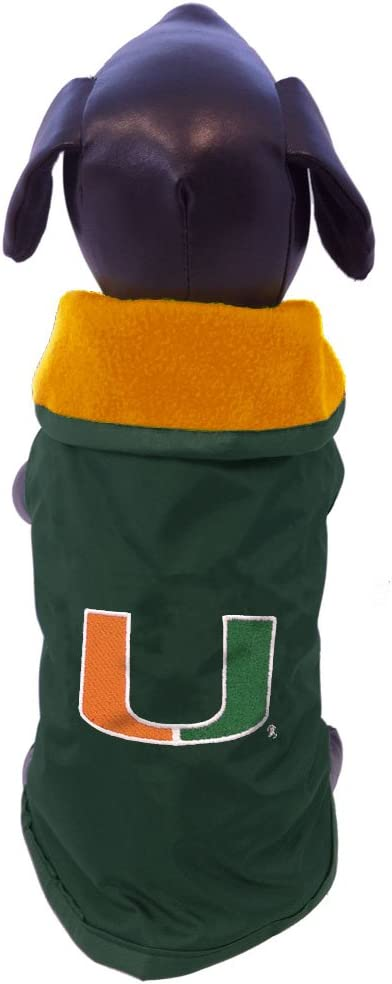 X-Large NCAA Miami Hurricanes All Weather-Resistant Protective Dog Outerwear