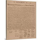 John Parrot Premium Thick-Wrap Canvas Wall Art Print Entitled Vintage Copy of The United States Declaration of Independence 20'x24'