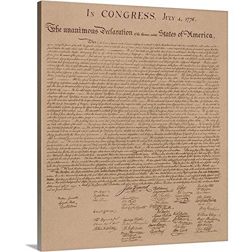 Vintage Copy of The United States Declaration of Independence Canvas Wall Art Print, 20