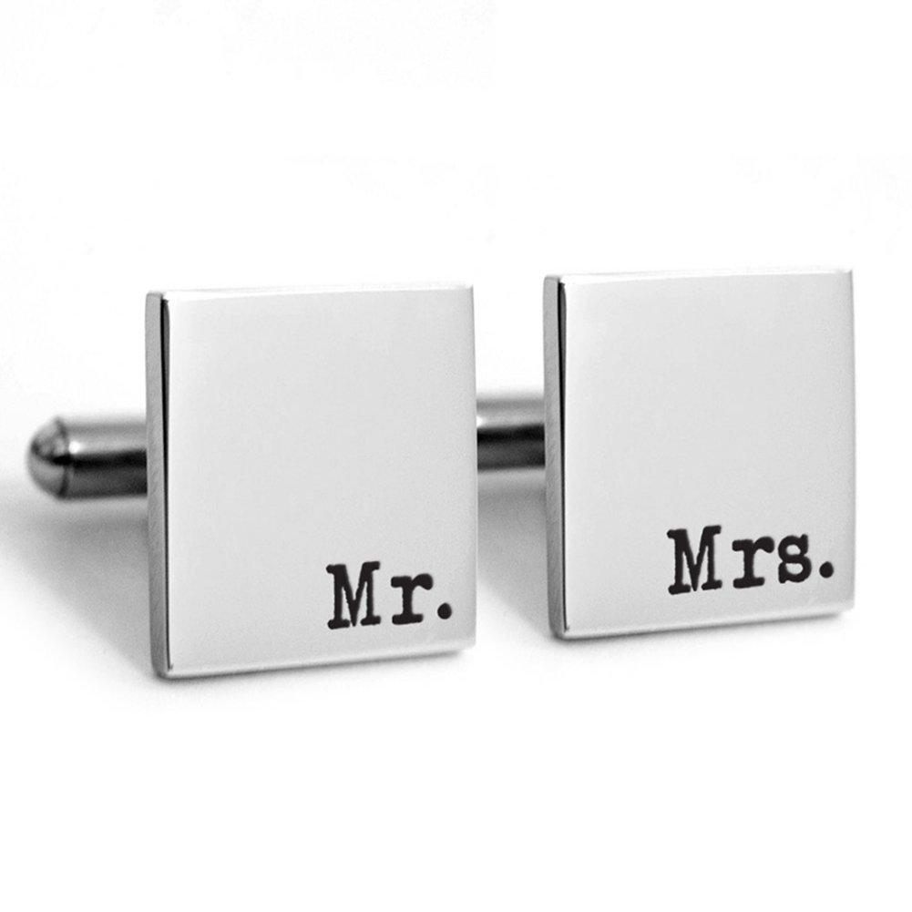 Lovefir Fashion 925 Sterling Silver Personalised Square Cufflinks with Engraved Any initials