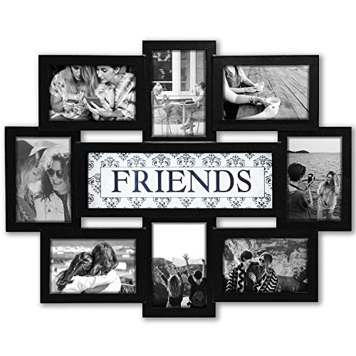 (Jerry & Maggie - Photo Frame 22x17 Wood Tone Friends Picture Frame Selfie Gallery Collage Wall Hanging for 6x4 Photo - 8 Photo Sockets - Wall Mounting Design)