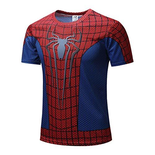 Short Sleeve Spiderman Athletic T Shirt Dri Fit Superhero Polyester Shirt