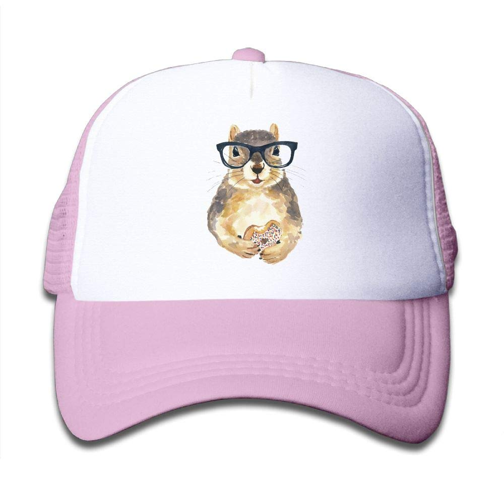 Clarissa Bertha Nerdy Squirrel Glass Dessert Kids Boys' Girls' Baseball Caps Mesh Hats