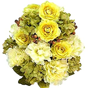 Admired By Nature Artificial Full Blooming, Peony, Ranunculus and Hydrangea with Berries and Greenery Mixed Bush - 24 Stems for Home, Wedding, Restaurant and Office Decoration Arrangement, Guava 5