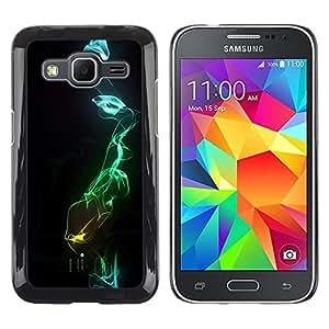TopCaseStore / la caja del caucho duro de la cubierta de protección de la piel - Black Dark Blue Green Abstract - Samsung Galaxy Core Prime SM-G360