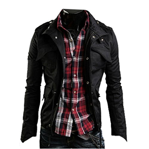 Amoin Men's Fashion New Military Casual Jacket Zip Button Coat