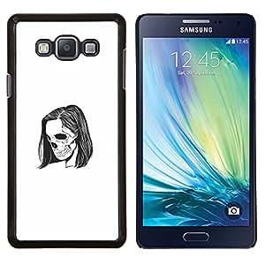KLONGSHOP // Cubierta de piel con cierre a presión Shell trasero duro de goma Protección Caso - Emo Esqueleto - Samsung Galaxy A7 A7000 //