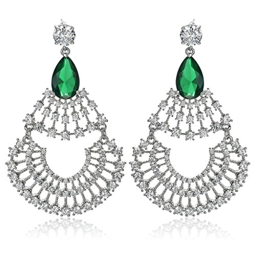 Gnzoe Womens Stud Earring Silver Plated CZ Sectorial Shaped with Teardrop Silver Green 3.3x5.4CM