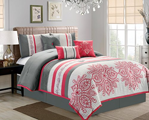 Retro 7 Piece Bedding MELON PINK, GREY Geometric Print Embossed King Comforter Set with accent pillows Melon Bedding Set