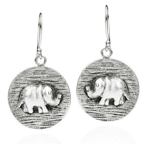Hill Tribe Silver 45mm - Thai Mountain Elephant Disc Thai Yao Hill Tribe Fine Silver Dangle Earrings