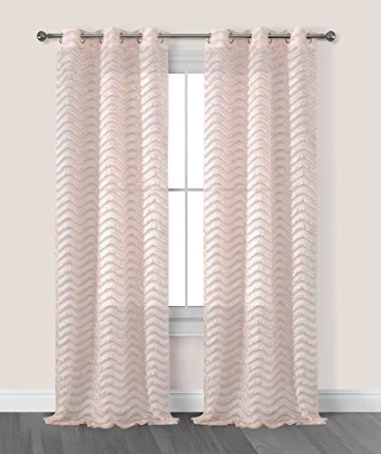 Dainty Home Claire 3 Dimensional Grommet Window Curtain Panel Pair with Surface Fringe, 38 x 96 76 x 96 Total , Blush Taupe