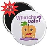 CafePress - Emoji Peach Whatcha Doin? - 2.25'' Magnet (100 pack)