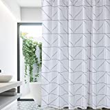 Black Fabric Shower Curtain White-Black Shower Curtain Farmhouse Fabric Cloth Shower Curtains for Bathroom 72 x 72 (Triangles)-Machine Washable
