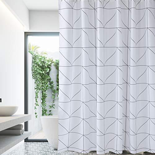 White-Black Shower Curtain Farmhouse Fabric Cloth Shower Curtains for Bathroom 72 x 72 (Triangles)-Machine Washable