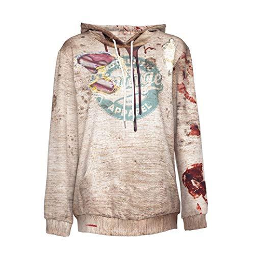 Fiaya Women's Halloween Bloody Print Scary Hoodie Sweatshirt (Beige, 2XL) -