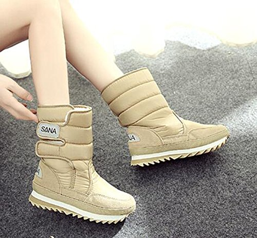 CHFSO Womens Casual Solid Waterproof Faux Fur Lined Hook-and-loop Mid Calf Low Heel Winter Warm Snow Boots Khaki 4cta1kZn