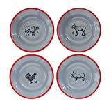 Heart of America 4 Assorted Styles Red & Gray Farm Animals Enameled Bowls - 4 Pieces