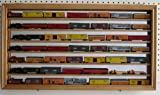 Oak Gauge Scale Model Train Display Case Wall Cabinet Mirror Back