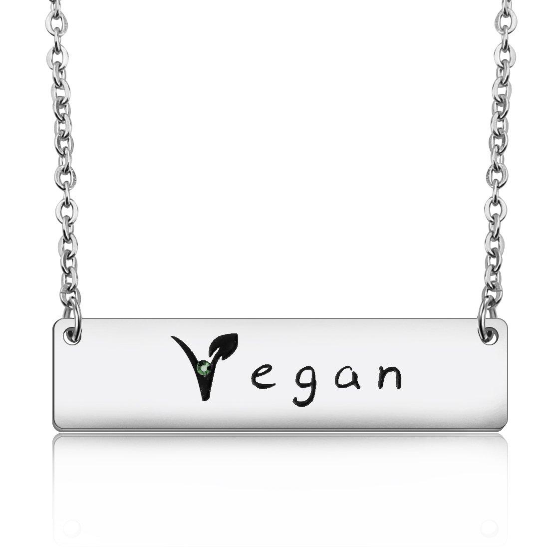 Amazon Maofaed Vegan Symbol Necklace Horizontal Bar Necklace