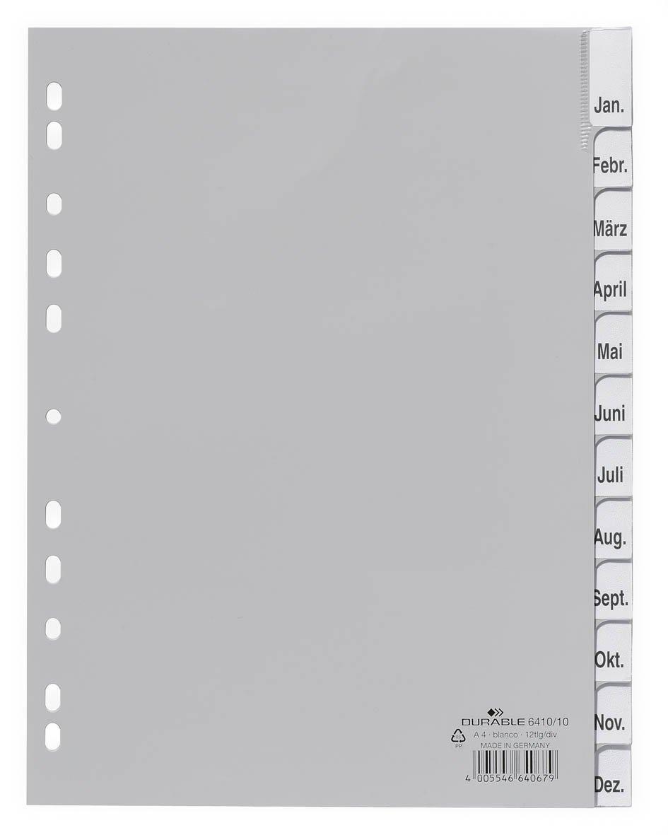 grau Durable 641010 Ordnerregister aus PP, Tabe blanko, f/ür A4, 12 Blatt