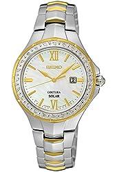 Seiko Diamonds Two Tone MOP Dial Ladies Watch SUT240