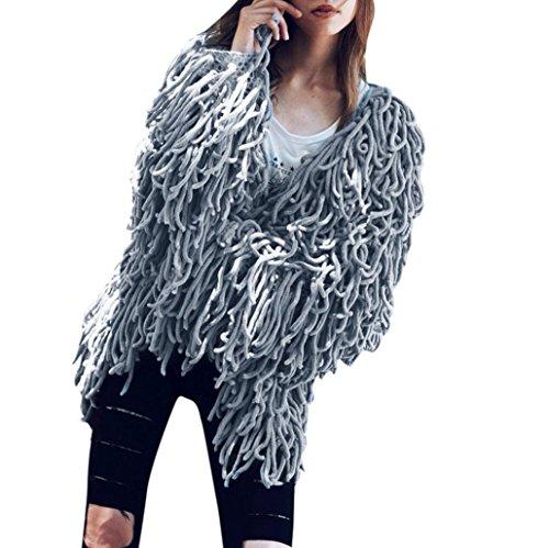 Kanpola Women 's Winter Warm Oversized Fur Outwear Chaqueta de Abrigo Peludo Knit Cardigan para Mujer Gris