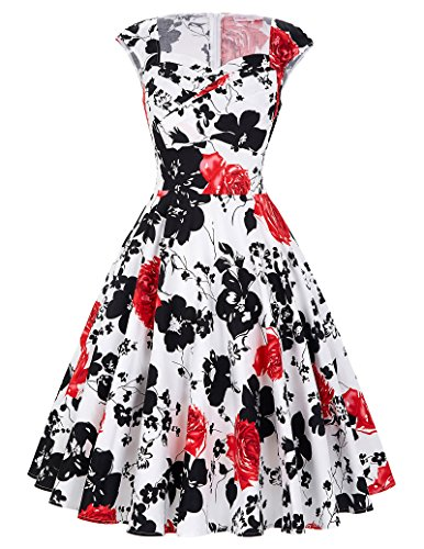 Sleeveless 50s Retro Dresses for Women A-Line Floral Size XL BP105-7
