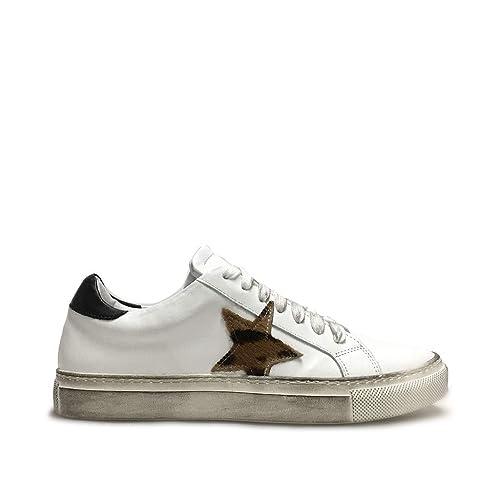 snickers donna  Sneakers Donna Bianche con Stella Cavallino Leopardato Vera Pelle ...