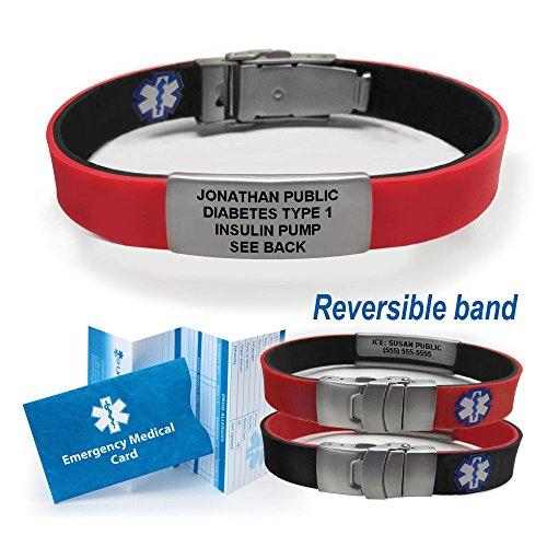 Sport/Slim Reversible Waterproof Medical Alert Bracelet. Incl. 9 lines engraving. - BLACK/RED