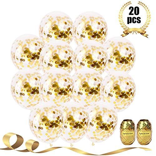 Party Deco 20 Pcs Gold Confetti Balloons, 12 Large Party Balloons for Party Decorations, Birthday, Baby Shower, Bridal Shower, Graduation, Bachelorette Party with Gold Ribbon