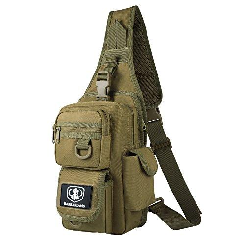 Barbarians Tactical Sling Bag Pack with Pistol Holster, Military Shoulder Bag Satchel, Range Bag Daypack Backpack (Tan)