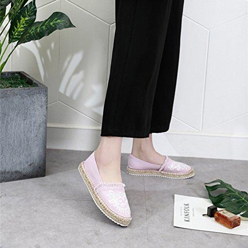 o Piatto Espadrillas Tacco Basso Donna Casuali Scarpe Xinwcang per Camminare Comfort Scarpe Pompe Pink Guidare col zqw14nO