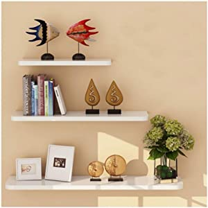 WUDENHOM White Floating Wall Shelve, Set of 3 Room Decorations Display Hanging Shelves Modern Long Plants Perfumes Pops Toys Storage Organizer Shelf for Office Dorm Kitchen Storage