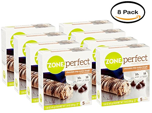 PACK OF 8 - ZonePerfect Cookie Dough Nutrition Bars, Chocolate Chip, 5-pack (Sweet Perfect Zone)