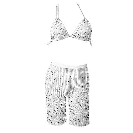 3fff9623bd Amazon.com: SimpleLif Womens Fishnet Underwear Set Glitter Drilling  Rhinestone Halter Bra Shorts Leggings Lingerie Bikini Solid Color  Beachwear: Home & ...