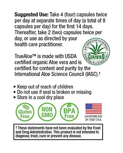 TrueAloe 100% Organic Aloe Vera Capsules - 120 Capsules per Bottle - 6 Pack by NatureCity (Image #4)