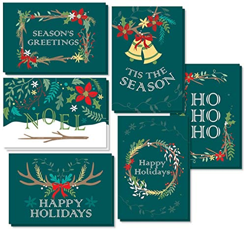 48-Pack Merry Christmas Greeting Cards Bulk Box Set - Holiday Xmas Greeting Cards with 6 Winter Holiday Designs, Envelopes Included, 4 x 6 Inches (Business Christmas Cards)