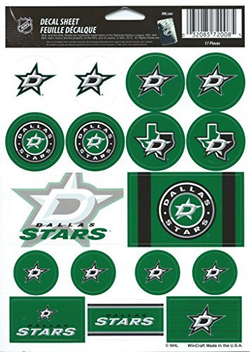Wincraft NHL Dallas Stars Vinyl Sticker Sheet, 5'' x 7''