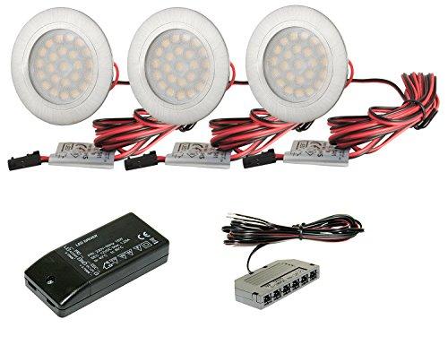 3 x Set Spot LED encastrable pour meuble Plat Tim 2 W DC 12 V - Blanc chaud  + Transformateur LED 15 W + AMP Répartiteur  Amazon.fr  Luminaires et  Eclairage 1821be372076